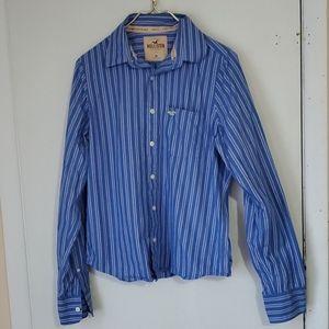 Hollister blue and white men's M long sleeve shirt